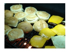 Cheeseburgers on Grill