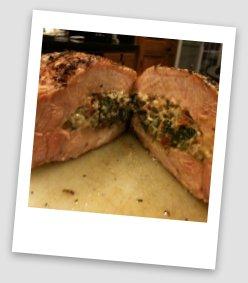 Stuffed and hickory smoked pork chop
